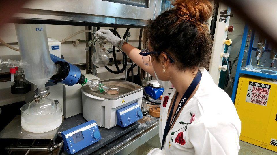 Female scholar in lab